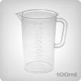 Measuring cup with 2ml increments, 100ml