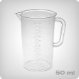Measuring cup with 2ml increments, 50ml