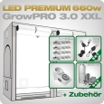 Grow Tent Complete Kit LED GrowPRO XXL + 4x Q4WL, 660W