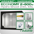 Low Budget Grow Tent Complete Kit XXL, 2x 600W, 240x120x200cm