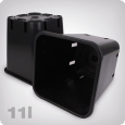 Plant pot, square/black, 11 litres