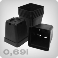 Plant pot square/black, 0.69 litres