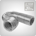 Flexible ventilation ducting 10 metres, diameter: 102 mm