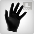 Black Powder Free Nitrile Gloves, 100/Box Size L